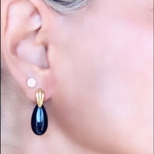 14k Gold & Black Onyx droplet post earrings